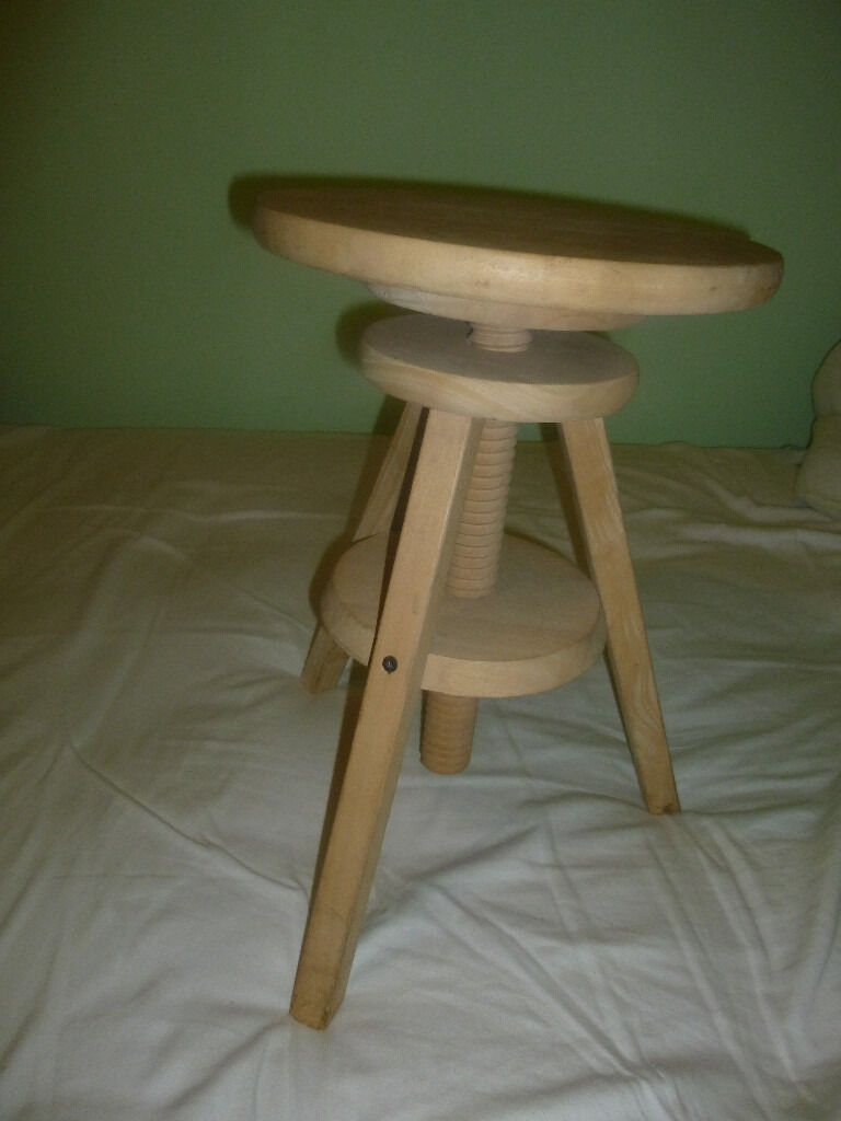 Height Adjustable Funky Wooden 3 Legged Stool In Denbigh