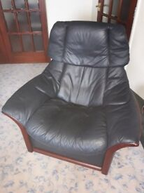 Stressless blue leather recliner arm chair