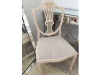 White wood and grey upholstered chair (desk, / Dressing table / occasional / accent)