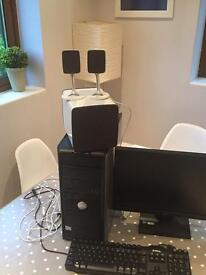 Dell Pc, keyboard, mouse, speakers, screen & printer