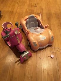 Baby Born dolls car and RC motorbike