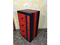 Bedside cabinet / chest of drawers boys bedroom red & blue stripes race theme