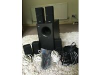 Bose acoustimass 15 s/woofer and 5 cube speakers