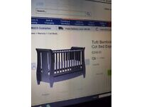 Two months used baby tutti bambini espresso baby cot with same packed n also baby spring mattress