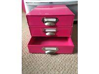 Pink Cardboard 3 Drawer Unit/ Storage