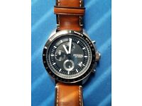 Fossil watch, black dial, brown strap, very good condition