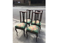 4 x Mahogany Splat Back Dining Chairs , in good condition. Covered in vintage flower material.
