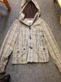 Women's Top Shop check grey/green coat jacket mac rain size 8 UK