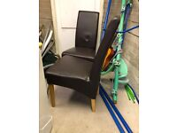 6 Brown Leather Dining chairs for sale