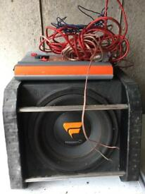 Subwoofer and amp plus some wiring for car