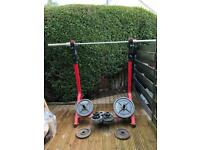 HEAVY DUTY OLYMPIC SQUAT RACK OLYMPIC BAR AND WEIGHTS