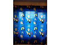 "Fireman Sam Curtains (navy blue, unused) 66"" x 72"" - £5"