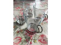4 Habitat glass and metal latte/ tea cups