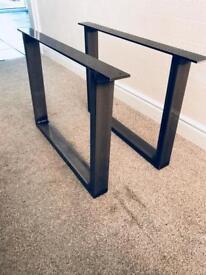 2x Rustic Steel Self Colour Coffee Table Legs