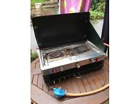 Camping gas 2 ring cooker with grill