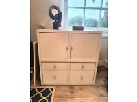 Compact Solid Wood Chest of Drawers, White