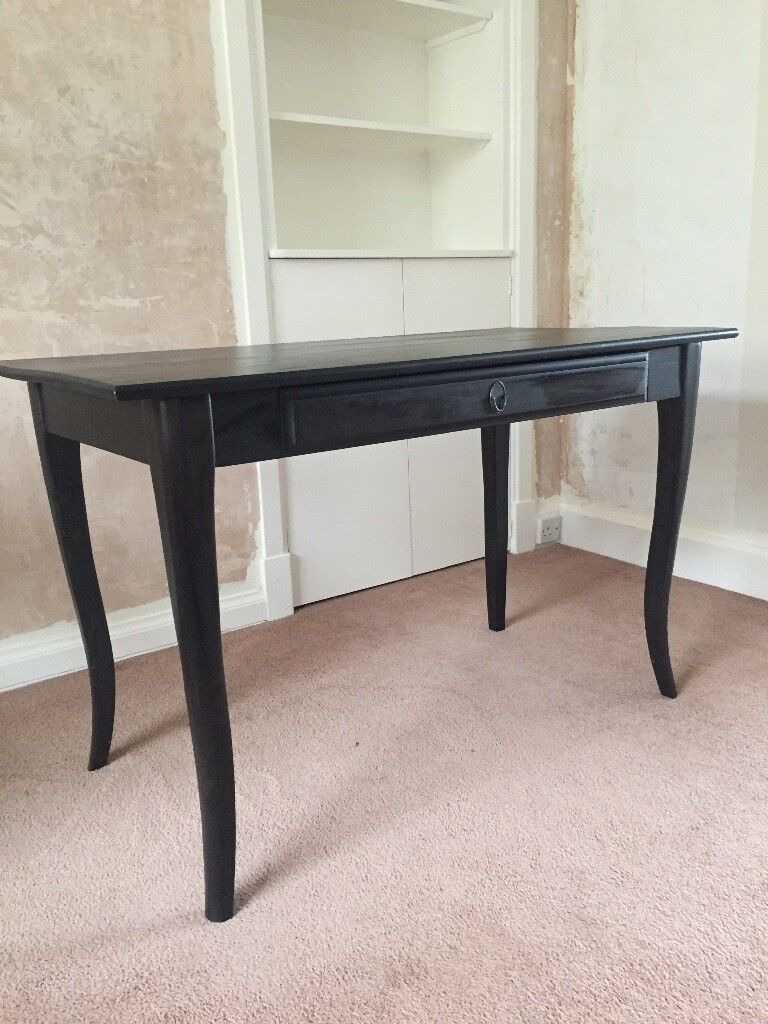 Black Desk Dressing Table Solid Wood Ikea Leksvik