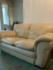 Cream leather 2 seater couch