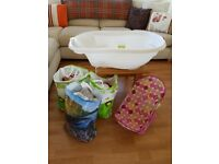 Baby bath, bath seat and clothes