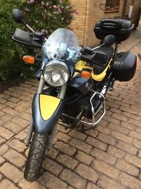 BMW R1150R with full BMW hard case panniers and GIVI top box with heated grips