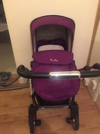 Silvercross wayfer pram and carrycot purple