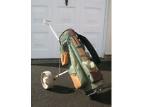 Golf bag and pull trolley.