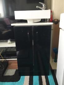 Black gloss floor standing vanity unit with basin brand new