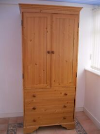 Pine effect double wardrobe with 3 drawers