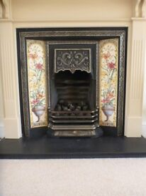 CAST IRON TILED FIRE SURROUND WITH FIRE GRATE