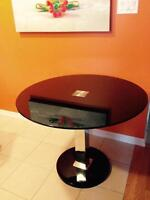 Round Black Glass Table