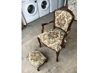 SOLID MAHOGANY ARMCHAIR & STOOL ~~ EXCELLENT CONDITION ~~ CAN DELIVER TO WEST MIDLANDS