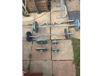 Bench press with weights and bars plus Olympic curler bar
