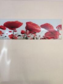 Large glass wall art/picture of red poppies