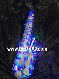 Transparent alto sax (saxophone) Looks stunning with LEDs. Great for club gigs. Limited edition