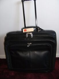 Executive Laptop leather roller travel case - Black (NEW)