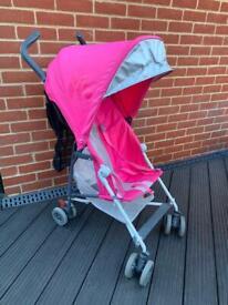 Pink Maclaren Mark II Light weight buggy + rain cover + extra storage
