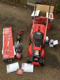 Ozito power exchange lawnmower/strimmer