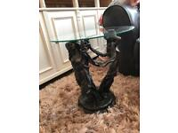 Glass and Bronze Side Table