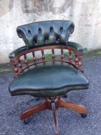 Green Leather Chesterfield Captain/s Chair / Office Chair