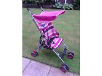 Babystart Pink Pushchair with canopy & raincover
