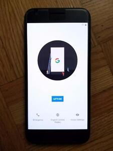 Unlocked Black Google Pixel 128 GB - Tempered Glass + Google Case