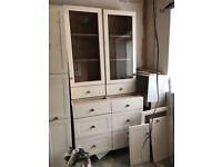 4 piece fitted kitchen dresser. Farmhouse style, cream.