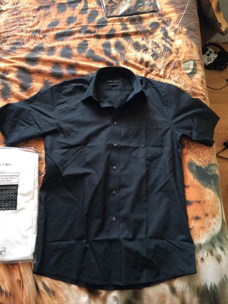 2 double two slim fit shirts cotton rich