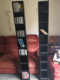 2 x DVD CD Blu-Ray Tower Shelves Rack