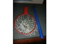 Basketball hoop and telescopic pole.