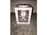 White and rose gold ice watch