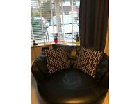 Leather swivel cuddle chair