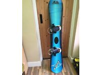 Snowboard, bindings, boots and bag
