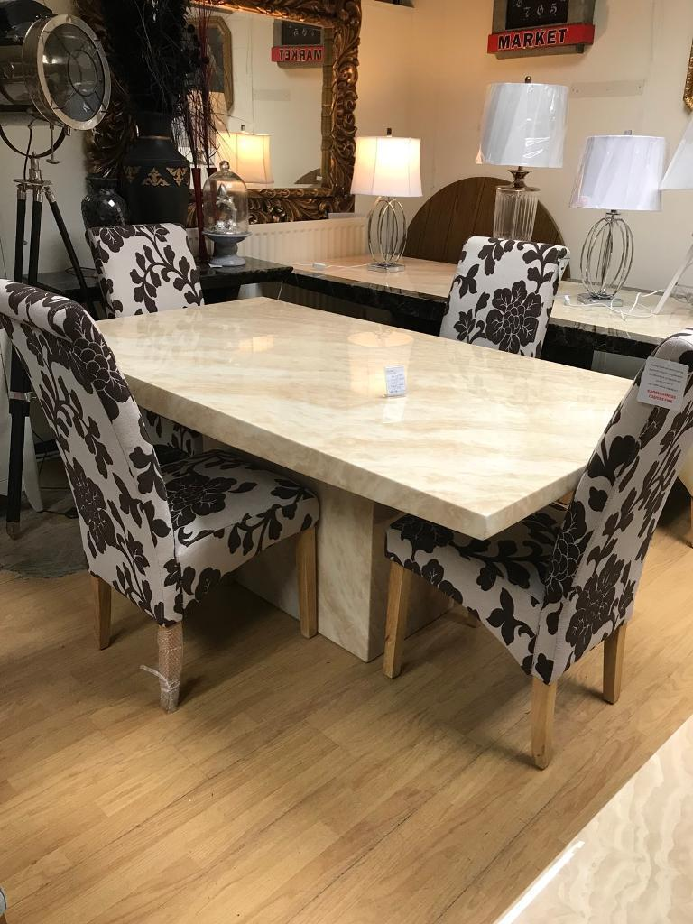 Crema Marble Dining Table With 4 Or 6 Floral Chairs