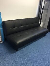 Black Faux Leather Sofa / Sofa Bed Excellent Condition